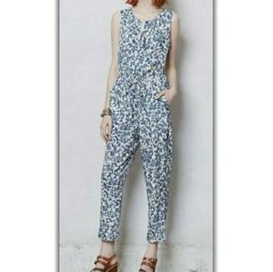 Anthropologie Leifnotes Blue Printed Jumpsuit